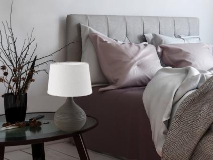 LED Tischleuchte Keramik 29cm hoch mit rundem Stofflampenschirm Ø 20cm in Creme