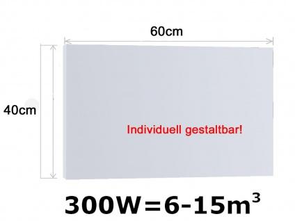 Infrarotheizung, Elektroheizung 300W, 60x40 cm, Hochglanz weiß, Vitalheizung
