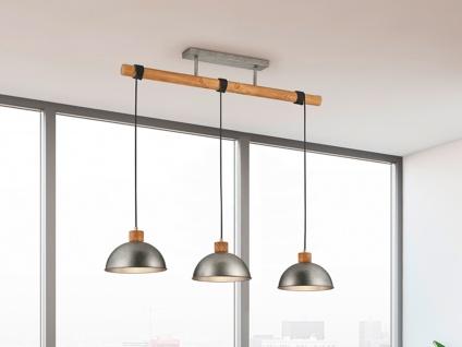Pendelleuchte dreiflammig mit Holzbalken, große Hängelampe über Esstisch hängend - Vorschau 1
