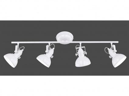 LED Deckenstrahler 4 flammig im Retro Look aus Metall in Weiß, dreh + schwenkbar