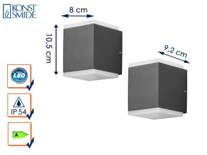 2er Set LED Außenwandleuchte Anthrazit, 2x 12W IP54 Fassadenbeleuchtung Garten