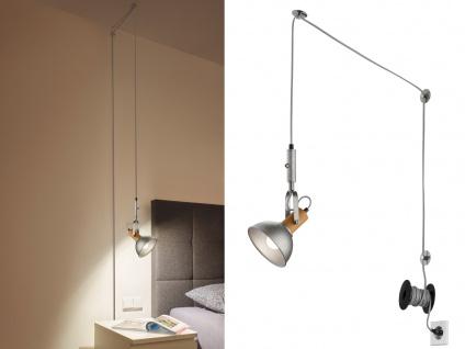 LED Pendellampe Schirm Silber/Holz schwenkbar mit Kabel & Stecker für Steckdose