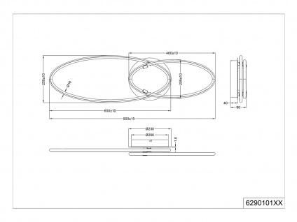 Große LED Deckenlampe mit Dimmer ovale flache Ringleuchte für Wohnzimmer Galerie - Vorschau 5
