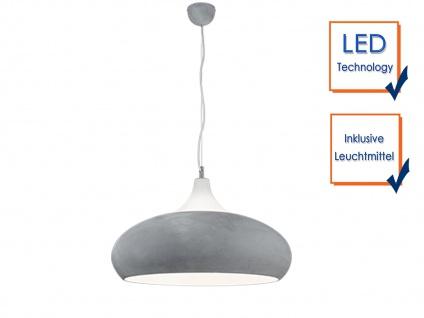 Design LED Hängelampe in BETONFARBEN + weiß aus Metall Pendelleuchte Esszimmer - Vorschau 3