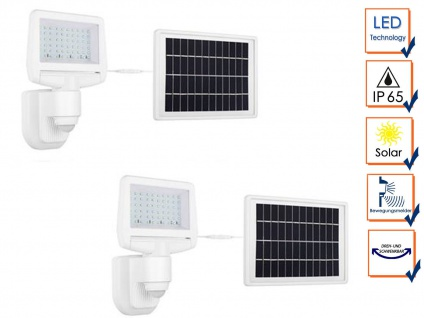 2er Set Smartwares LED Solar Sicherheitsleuchte mit Bewegungsmelder, Außenfluter