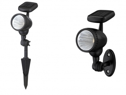LED Solarleuchte mit Erdspieß oder Außenwandleuchte, LED Strahler Gartenlampe