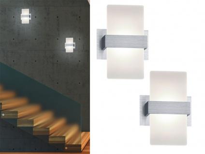 Stylishe LED Wandleuchte mit Schalter im 2er Set - edler Materialmix aus ALU geb