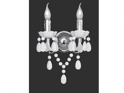 Nostalgische LED Wandleuchte 2 flammig Silber mit Acryl Kristallbehang in Weiß