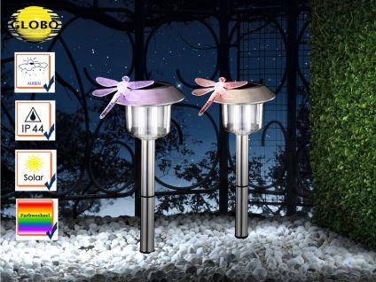 2Stk LED Erdspießleuchten Solarleuchten Edelstahl mit Farbwechsel, Gartenlampen