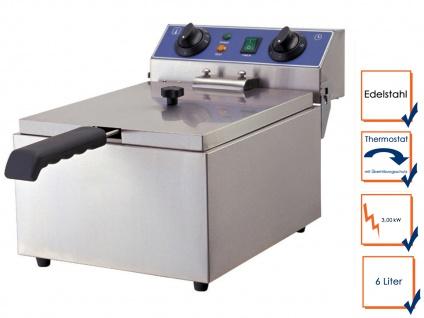 Profi Edelstahl Fritteuse 6 L 3 kW, Gastro Kaltzonen Elektro Fritteuse Friteuse