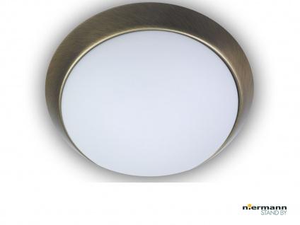 Flurleuchte Dielen Beleuchtung Deckenschale rund Ø 40cm Opalglas Altmessing