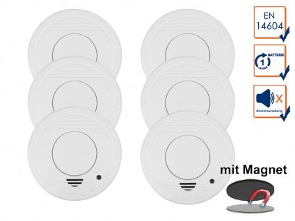 6er-Set Rauchmelder mit 1 Jahres Batterie - Stummschaltfunktion + Magnethalter