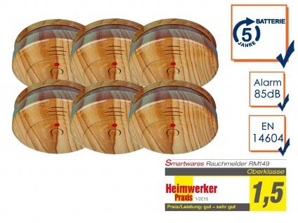 6er SET Brand-Melder Holzoptik 5 Jahres Batterie, EN14604 geprüft, Alarm Feuer