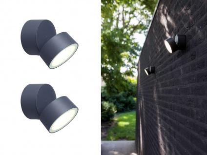 2 runde LED Außenwandleuchten mit 90° drehbarem Kopf ALU Anthrazit 9, 4cm? medium