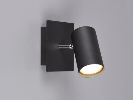 Dimmbarer Wandstrahler für Innen mit schwenkbarem LED Spot, Metall schwarz matt
