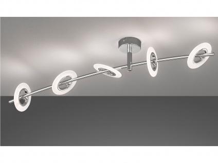 Dimmbare LED Deckenleuchte BAMBUS 5flammig, Metall chrom, Wohnzimmerlampe Design