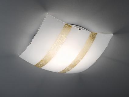 Deckenlicht 50x50cm, Lampenschirm in weiß/goldfarben dimmbare LED Dielenleuchte