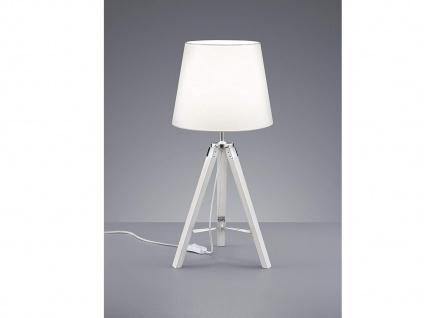 Ausgefallene LED Tischleuchte mit Holzfuß & Stoff Lampenschirm Ø26cm in Weiß