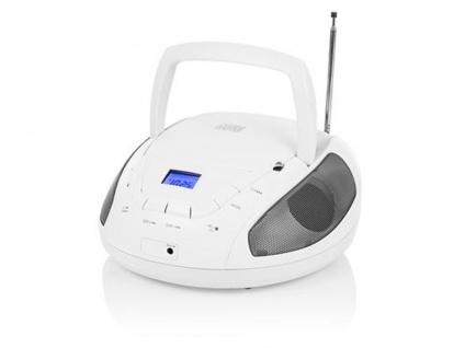 Tragbares Radio weiß mit CD-Spieler & FM Tuner, Aux-in für MP3 Player, Stereo