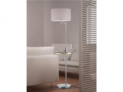 LED Stehleuchte Silber mit Stoffschirm schwenkbar - Ablagetisch & USB Anschluss