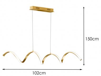 Höhenverstellbare LED Pendelleuchte Gold dimmbar 32W L. 102cm - Esstischlampen - Vorschau 5