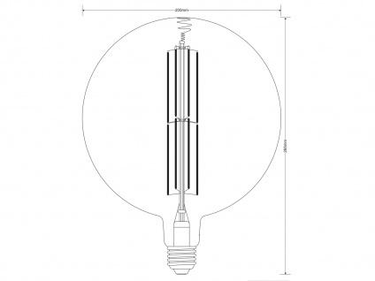 Filament LED Leuchtmittel Globe E27 Sockel dimmbar 8 Watt 260 Lumen rauchfarbig - Vorschau 3