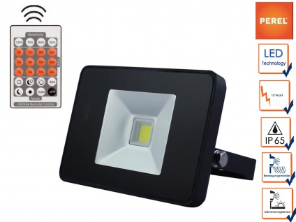 10W LED Strahler Bewegungsmelder und Fernbedienung, IP65, Außenleuchte Fluter