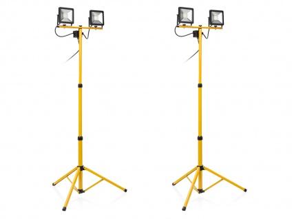 LED Baustrahler mit Stativ Höhe 110-180cm 2 Stk Fluter Arbeitsscheinwerfer 2x20W