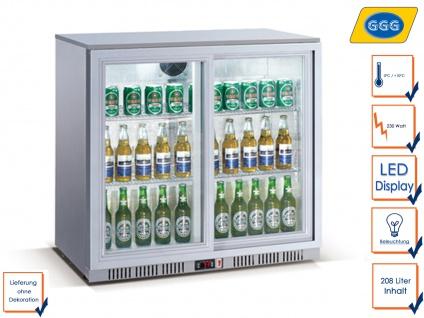 Gastro Getränkekühlschrank m. Glastür 208L, Flaschenkühlschrank Profi