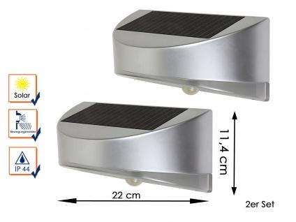 2 LED Außenwandleuchten Solar Bewegungssenor Silber IP44 Solarlampe Gartenlampe