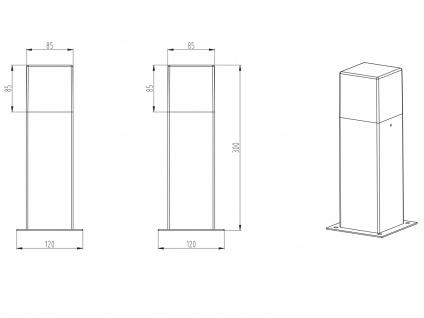 LED Sockelleuchte in Hell Grau 30cm - 3er Set Terrassenbeleuchtung Wegeleuchten - Vorschau 4