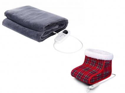 Wellness-Set: Elektrische Fleeceheizdecke mit Timer + Elektro Fußwärmer waschbar - Vorschau 2
