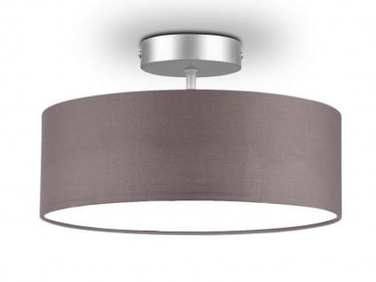 Deckenleuchte mit Stoff Lampenschirm Grau 30cm - Textil Deckenlampe Stoffschirm