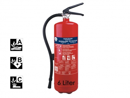 Pulverlöscher Feuerlöscher 6kg Brandklasse A, B, C, Manometer Wandhalt.
