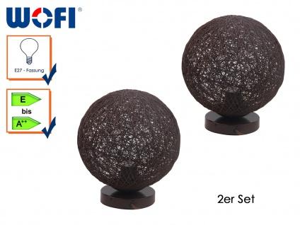 2er Set Tischleuchte BILBAO, Rattankugel braun Ø 25 cm, Tischlampe Wofi-Leuchten