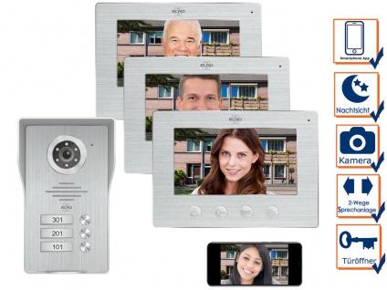 IP Türsprechanlage mit Kamera und Monitor - Video Türklingel für 3 Familienhaus