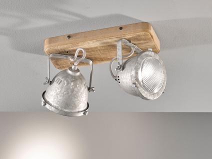2 flammiger Deckenstrahler Holzbrett & Metall zink antik, Deckenlampe Industrial