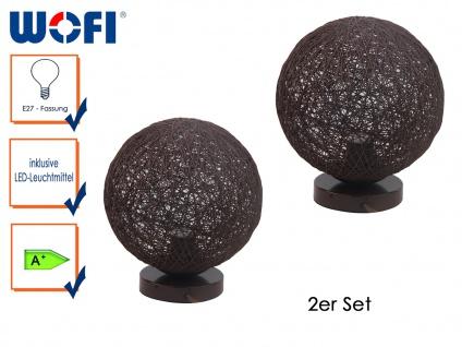 2x Tischleuchte BILBAO, Rattankugel, Ø 25cm, mit LED, Tischlampen Tiscchleuchte