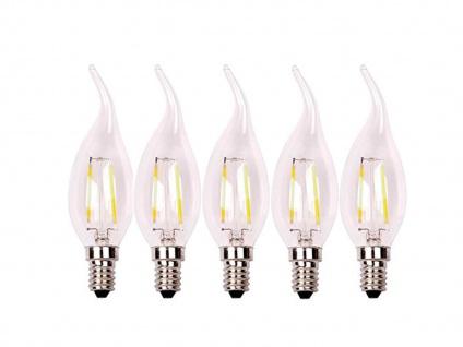 5er-Set FILAMENT-LED Kerze E14, 2 Watt, 200 Lumen, 2700 Kelvin