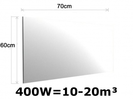 400W Infrarot Spiegelheizung fürs Bad, 70x60cm, für Räume 10-20m³