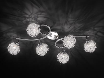 6-fl. LED Deckenleuchte Spots drehbar Silber, Wohnraumleuchte Dielenlampe modern