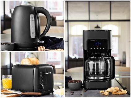 Design Edelstahl 3in1 Frühstücksset Schwarz Kaffeemaschine Wasserkocher Toaster