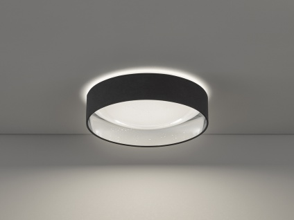 Dimmbare LED Sternenhimmel Deckenlampe Ø40cm, Lampenschirm Stoff schwarz silber