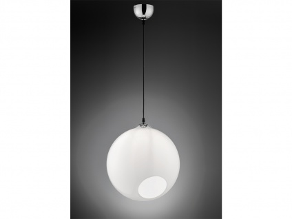 Designer LED Pendelleuchte Glas Lampenschirm Kugelform Ø35cm 1 flammig in weiß
