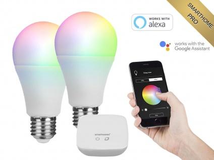 2er Set intelligente E27 Funk Leuchtmittel Smarthome PRO - dimmbar & RGB Farben