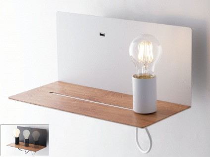Ausgefallene LED Wandleuchte Weiß mit verstellbarer Lampe, USB Anschluss, Ablage