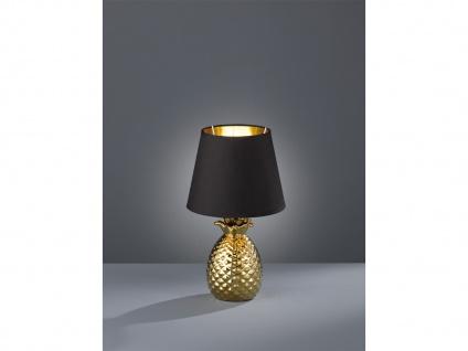 LED Tischleuchte Ananas aus Keramik mit Stofflampenschirm Ø20cm in Gold/Schwarz