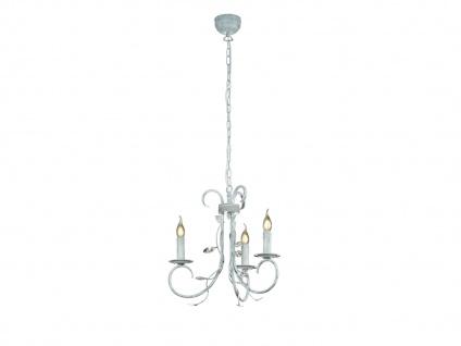 3 fl. Antik Look Kronleuchter aus Metall mit Blätter Design & Kerzenlicht, grau