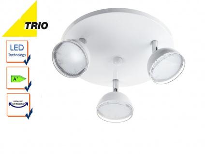 Trio 3 flammiger LED Deckenstrahler BOLOU weiß, Rondell Deckenleuchte Retro