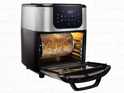 PRINCESS Heißluftfritteuse Ofen mit Drehspieß & Rotierkorb Grill 11Liter, 1800W
